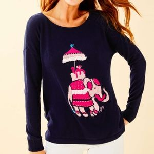 Lilly Pulitzer Elephant Intarsia Navy Sweater